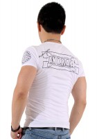 『ブラックフレーム サークルロゴ プラス バック ホワイト Tシャツ』